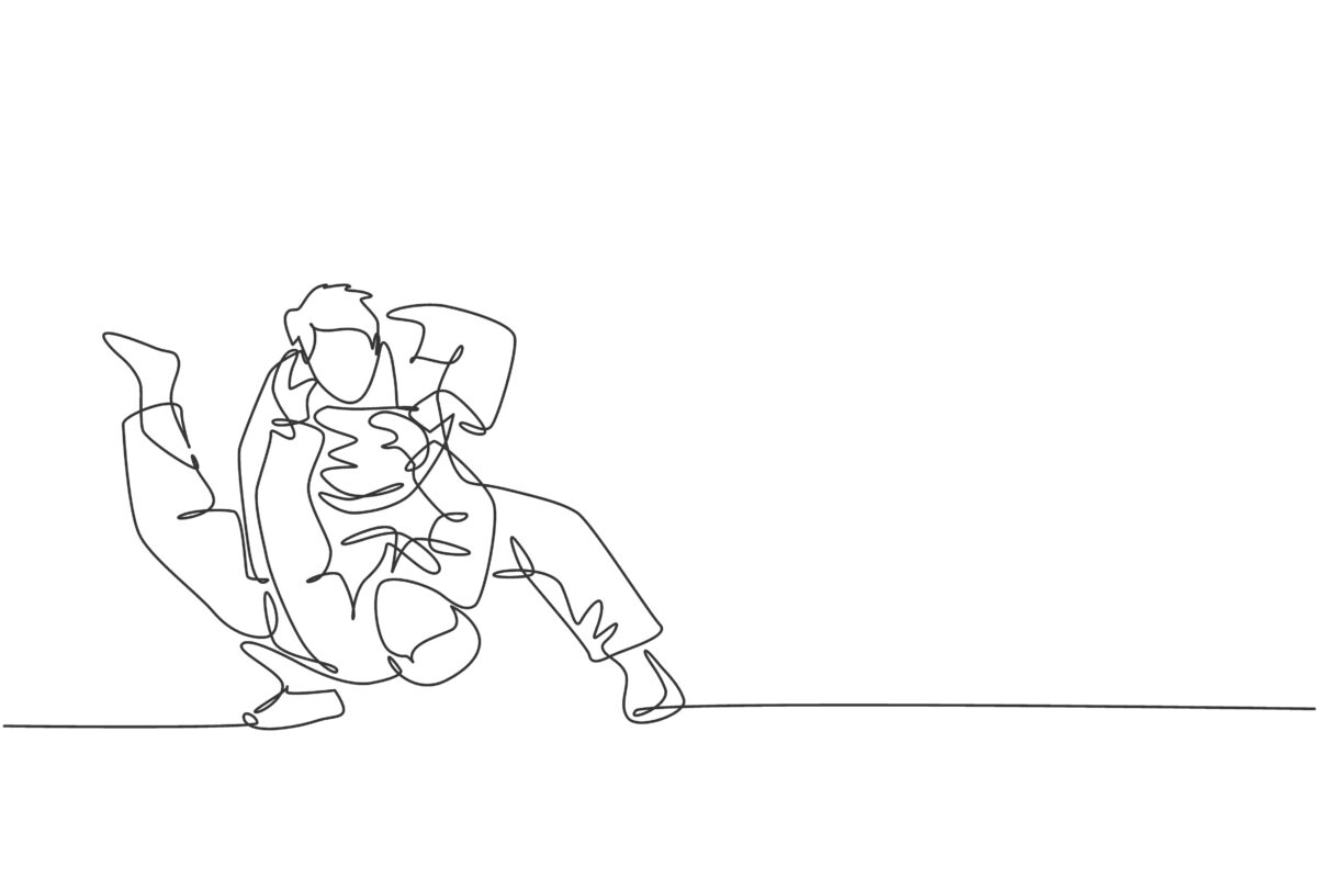 One continuous line drawing of two young sporty men focus training judo technique at sports hall.