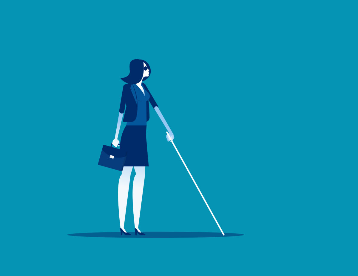 Drawing of a blind woman with a stick